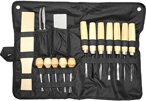 16-teiliges Universal Schnitzmesser Set / Werkzeug Set in einer praktischer Transport-Rolltasche