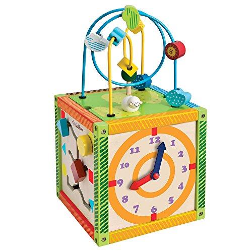 Eichhorn Color Spielcenter aus Holz mit Zählrahmen, Motorikschleife, 20 x 37 cm: Motorikwürfel Motorik Spielzeug Holzspielzeug Baby