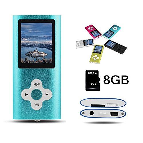 Btopllc MP3-Player, MP4-Player, digitale Musik-Player 8 GB interne Speicherkarte, tragbare und kompakte MP3 / MP4-Musik-Player, Media Player, Video Player, Video, Ebook, Bild Musik-Player - Blau (Video-mp3-player Tragbaren)