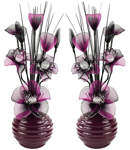 Flourish Paire de Fleurs artificielles avec Vase Prune décoration, Accessoires et décoration pour Salle de Bains, Chambre ou Cuisine 32 cm