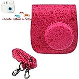 Malloom®realzar lindo cuero de la PU cámara funda protector bolsa caso y la cubierta para FUJIFILM Instax Mini8 Mini8s Rosa Fuerte