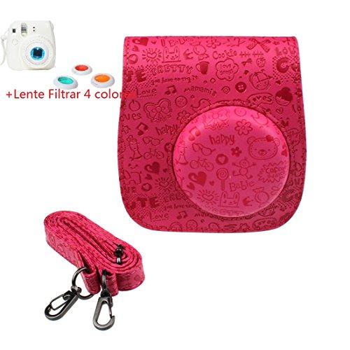 Malloom®realzar lindo cuero de la PU cámara funda protector bolsa caso y la cubierta para FUJIFILM Instax Mini8 Mini8s Rosa