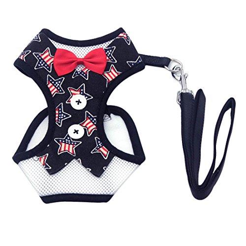Welpengeschirr Weste für Hunde Fliege Gentleman Anzug für Kleine Hunde Katze Soft Mesh Weste Halsband mit Bell Pet Leine Set, Star L