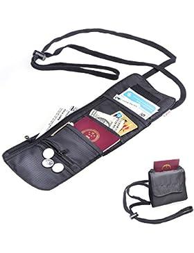 TFY Collo Regolabile Borsa per Passaporto, Carta e Ticket