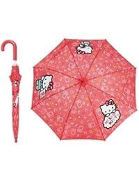 Parapluie imprimé lettres et dessins enfant fille Hello kitty Rose foncé diamètre 80cm