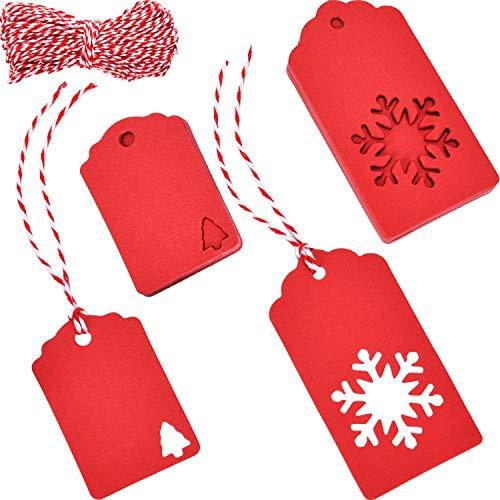 150 Stücke Weihnachtsbaum Papier Tags Geschenkanhänger und 100 Stücke Schneeflocke Hang Etiketten mit 30 Meter Schnur für Hochzeit Urlaub Weihnachten DIY Kunst und Handwerk