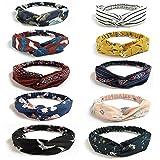 10 PCS Headbands Vintage Élastique, Bandeau Cheveux Femme Vintage, imprimé Criss Cross noué élastique bande de cheveux extensible tête Wrap Twisted cheveux accessoires...