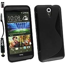 Emartbuy® Lápiz Óptico Paquete para HTC Desire 620 Pellicola Protettiva + Metálico Mini Negro Lápiz Óptico + Ultrafina Ultrafina a Presión TPU Gel Funda Carcasa Case Cover Negro