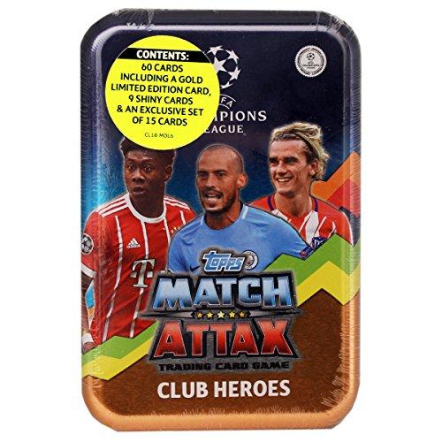 Topps Match Attax UEFA Champions League Saison 2017/18 - Mega Tin á 60 Karten, beinhaltet 1 Gold Limited Edition Karte, 9 glänzende Karten und ein Exklusiv-Set von 15 Karten