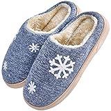 JACKSHIBO Damen Herren Plüsch Baumwolle Pantoffeln Weiche Leicht Wärme Hausschuhe Rutschfeste Slippers Für Unisex, Blau, EU 40/41=CN 42/43
