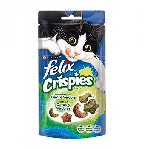 Purina FELIX Crispies Carne y Verdura 8 paquetes de 45 gr - Total: 360