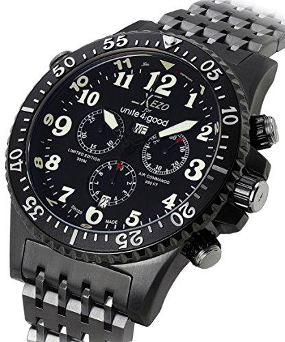 Xezo Air Commando Swiss Chronograph für Taucher und Piloten,limitierte Edition,Luxusausführung aus Rotguss,30 ATM,zweite Zeitzone