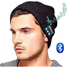 SUNNIOR musica di Bluetooth Knit Hat Beanie con le cuffie senza fili auricolare Altoparlanti rimozione Mic mani libere per l'esecuzione di fondo Pattinaggio Escursionismo, regali di Natale,Nero
