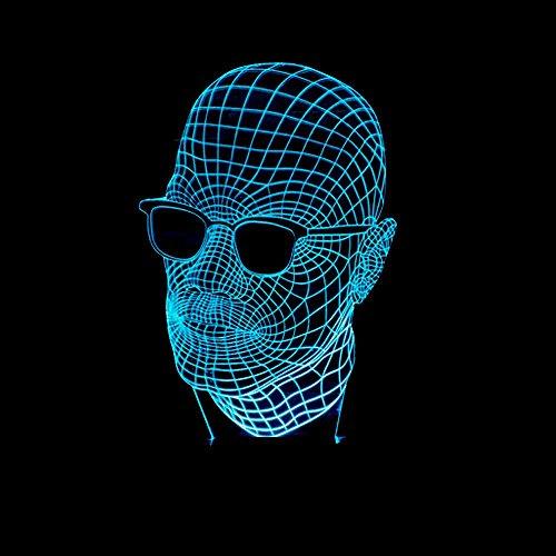 Wmshpeds Männer mit Brille 3D-bunten Touch-LED sichtbaren Licht Geschenk Atmosphäre Lampe leuchtet