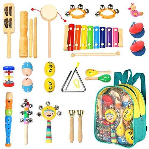 Kleinkinder Musical instruments- eHome 15Arten 22Holz Percussion Instrumente Spielzeug für Kinder Vorschule Bildung, Musical Toys Set für Jungen und Mädchen mit Speicher Rucksack