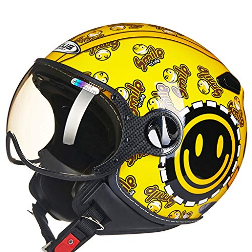 ZJJ Helm- Halbüberdachter Helm, Unisex-Helm, Regen- und UV-Schutzhelm, Kurze Linse (Farbe : Gelb, größe : XL)