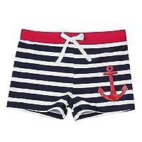 TiaoBug Kids Children Girls Boys Swimming Trunks Stripe Beach Holiday Swimwear Swim Boxer Shorts White&Navy 6 Years