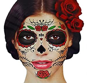 Glitter Red Roses Day of the Dead Sugar Skull Temporary Face Tattoo Kit - Pack of 2 Kits by Savvi