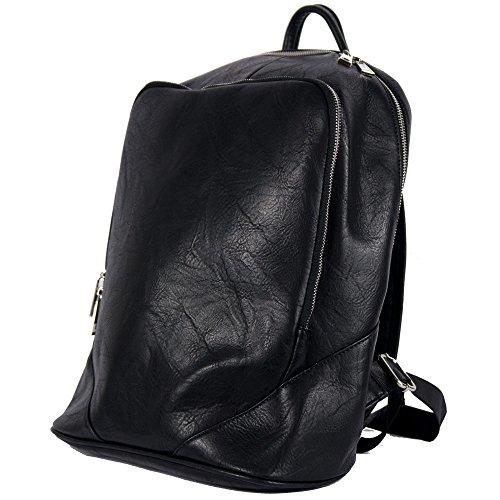 Zaino uomo business vintage lavoro viaggio scuola squadrato borsa a spalla università ufficio Nero