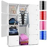 Kesser® DIY Kleiderschrank Schrank Steckregal ✓ Schuhschrank ✓ Regalsystem ✓ Garderobe | Belastbar | Größe: 12 Boxen / 600 Liter | Farbe: Weiß