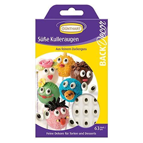 Günthart BackDecor kleine Augen aus Zucker | 63 Zucker Augen für Tortendeko | Cupcake | Monstercupcake
