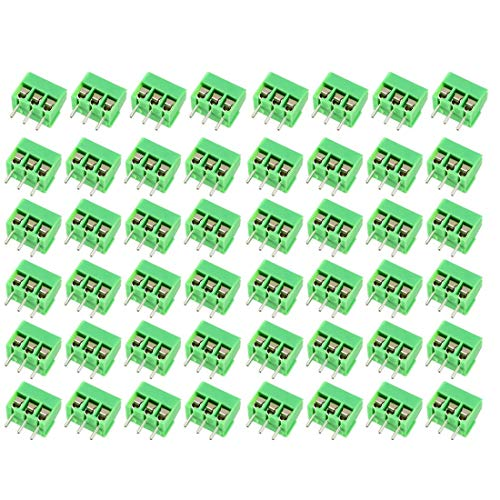 ZCHXD 50Pcs AC300V 10A 3.5mm Pitch 3P Flat Angle Needle Seat Insert-in PCB Terminal Flat Terminals
