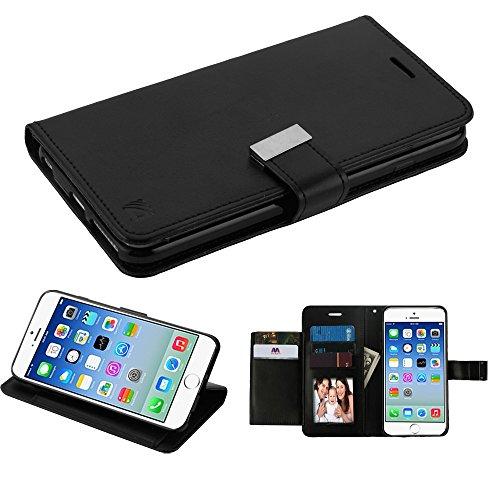 Schutzhülle + Eingabestift für Apple iPhone 6/6S MYBAT 3-lagige Geldbörse/Kupplung mit Extra Kartenfächer PU Leder MyJacket Brieftasche, Schwarz/Schwarz -