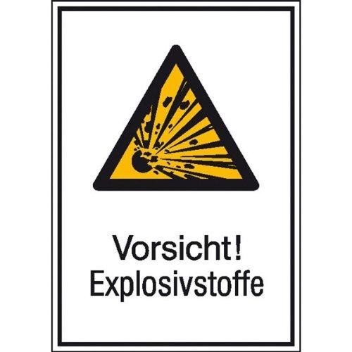 INDIGOS UG - Vorsicht! Explosivstoffe Warnschild, selbstklebende Folie, Größe 13,10x18,50 cm