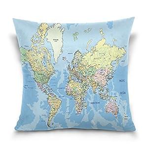 ALAZA manta funda de almohada Funda de cojín (cuadrado funda de almohada, Vintage mapa del mundo sofá cama cubierta de la funda de almohada 2lados
