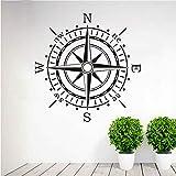 Lglays Wandaufkleber Kompass Wandkunst VinylAufkleber AufkleberOcean Navigation Abnehmbare Wohnkultur WohnzimmerWandaufkleberGanze58 * 59 Cm