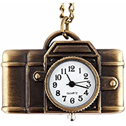 AOHANG Cool Camera-shape Quartz Pocket Watch Pendant Colour Bronze Chain
