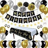 Décorations de Fête D'anniversaire Kit Noir Or - Anniversaire Paquets de fournitures de fête pour Hommes Femmes Enfants, Nappe Jetable en Papier Ballon de PomPoms pour 1e 18e 30e 40e 50e 60e 70e 80e