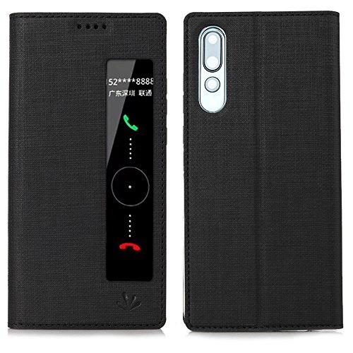 HUAWEI P20 Pro Hülle, Feitenn dünne Premium PU Leder Flip Handy Schutzhülle mit dem Ansichtsfenster | TPU-Stoßstange, Kameraschutz- und Standfunktion Brieftasche Etui (Schwarz)