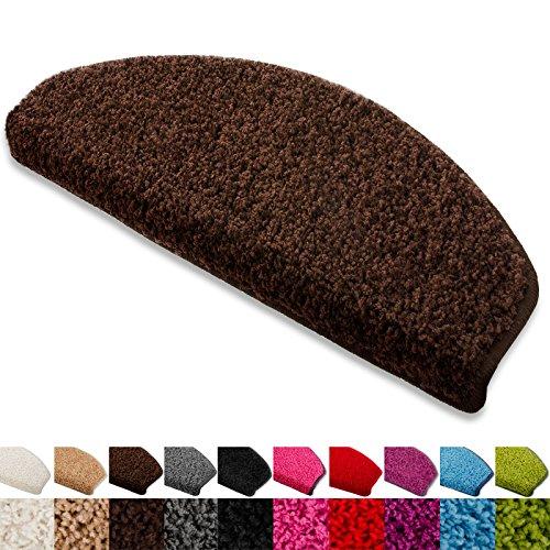 Floordirekt Stufenmatten Treppenmatten Shaggy - Venus Halbrund 10 Aktuelle Farben SparSet 15 Stck. (braun)