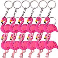 TE-Trend 12 Pieces Keychain Pendant Flamingo Decorative Bird Wasservogel Necklace Ring Keychain Rainbow Girls Birthday Prizes