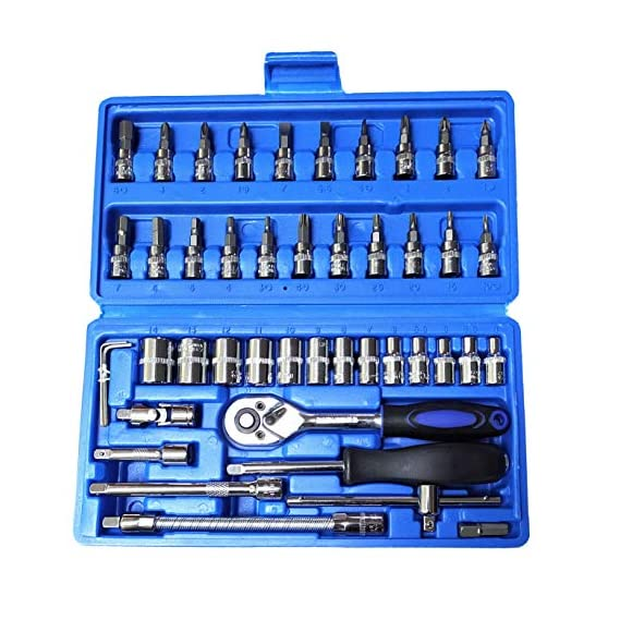Inditrust Socket Set, 46 Pieces Spanner Socket Set 1/4 Car Repair Tool Ratchet Wrench Set Hand Tool (Red)