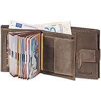 Woodland - portafoglio super-compatto con XXL tasche carte di credito per 18 carte fatte di appassionati non trattati