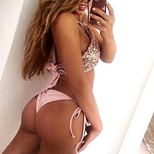 AiSi Damen Mädchen Glitzer Bikini-Set Neckholder-Bikini Badeanzug Bademode Bikinihose Bikinioberteile Neckholder mit Pailetten, m l xl Rosa L