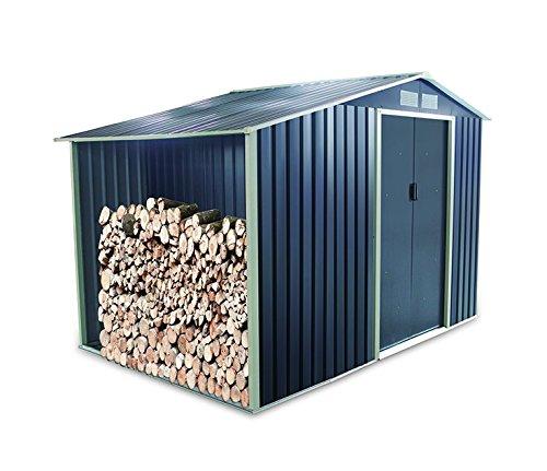 Caseta de jardín metálica con guarda leña de 5,31 m²