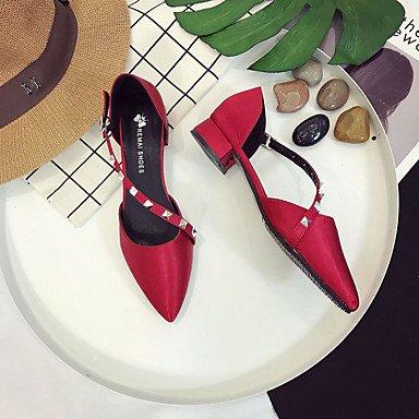 zhENfu Donna sandali di gomma Comfort estate passeggiate all'aperto Comfort fibbia tacco basso nero rubino sotto 1in Ruby