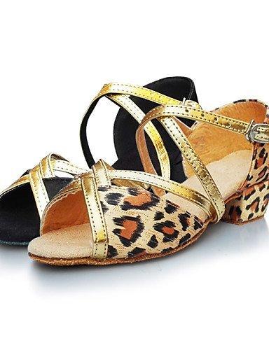 ShangYi Chaussures de danse ( Or / Léopard ) - Non Personnalisables - Talon Bas - Satin - Latine leopard