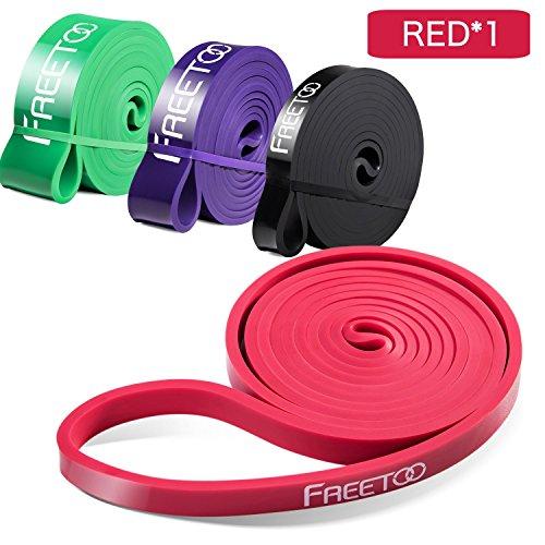 Freetoo fitness resistenza band fasce elastiche, perfette per riabilitazione dopo un infortunio, yoga, pilates, crossfit (rosso)