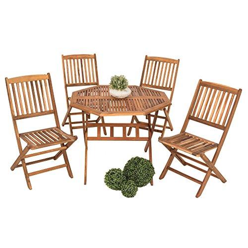 ESTEXO Akazienholz Sitzgruppe Modell Forest für 4 Personen, Holz Gartensitzgruppe, klappbar -