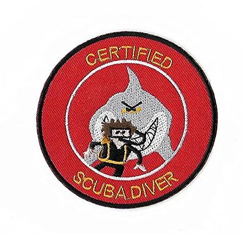 Certifié Scuba Diver Patch 9cm fer brodé sur Applique Badge de plongée Requin Costume Cosplay DIY Sac à dos Bagages T-shirt pour femme