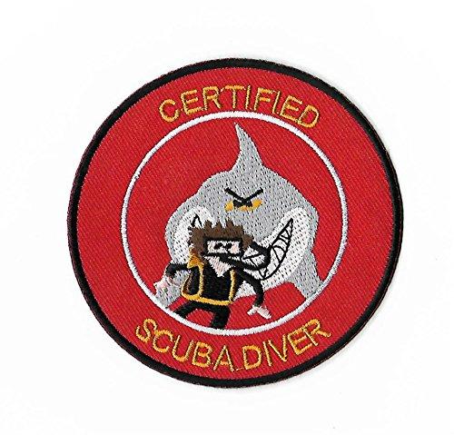 Zertifiziert Scuba Diver Patch 9cm Embroidered Iron on Badge Tauchen Aufnäher Shark Kostüm Cosplay DIY Tasche Rucksack T-Shirt Jacke (Sea Diver Kostüm)