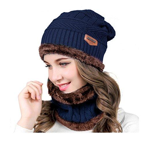 Joywow Wintermütze Winterschal Damen,Warm Beanie Mütze Schal Set mit Fleecefutter für Ski Outdoor Sport (blue) Fuzzy-ski