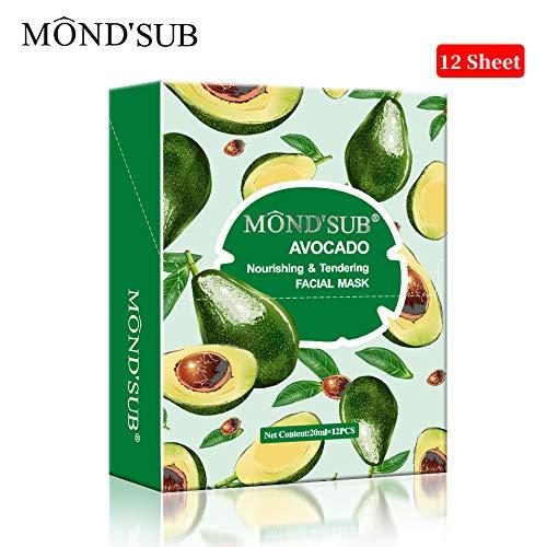 [12 P] Avocado-Öl Gesichtsmasken-Beste Planmaske für trockene Haut-Tief Nährende Moisturizing- machen die Haut Soft & Clear-Jede Hautausschlag Tag zu Tag Haut Concerns-Both Männer und Frauen von MOND\'