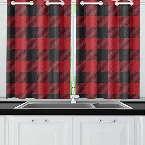 QIAOLII Roter schwarzer Büffel-Plaid-Küchen-Vorhang-Fenster-Vorhang-Reihen für Café, Bad, Wäscherei, Wohnzimmer-Schlafzimmer 26 x 39 Zoll 2 Stücke - Küche Vorhänge Plaid