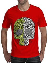 Red Cotton Round Neck T-Shirt For Men's/Boy's Half Sleeves Graphic Printed Tees Casual Tshirt By Oneliner Clothing
