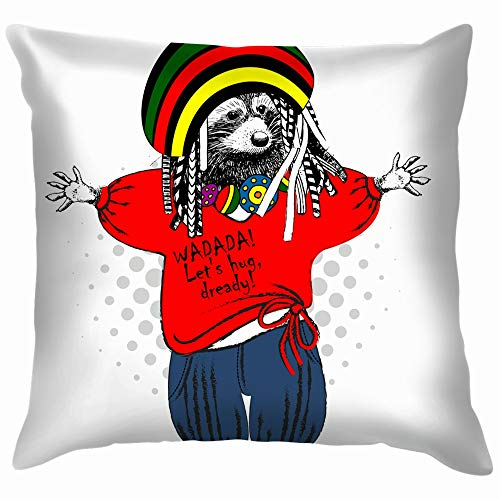 Raccon Rastafarian Hug Friendly Peaceloving Animals Wildlife People Cotton Linen Home Decorative Throw Pillow Case Cushion Cover for Sofa Couch 18X18 Inch